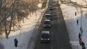 Procession for fallen officer Sgt. Andrew Harnett proceeds through Calgary (02:02)