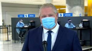 Coronavirus: Ford reiterates call for mandatory COVID-19 tests for all air travellers (01:46)