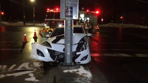 Car crashes into pole on Lansdowne Street in Peterborough