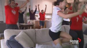 Father of B.C.'s Julia Grosso reacts to women's soccer gold medal win (01:01)