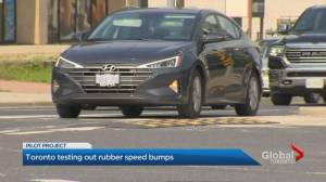 City of Toronto installs rubber speed bumps as part of pilot project (02:04)