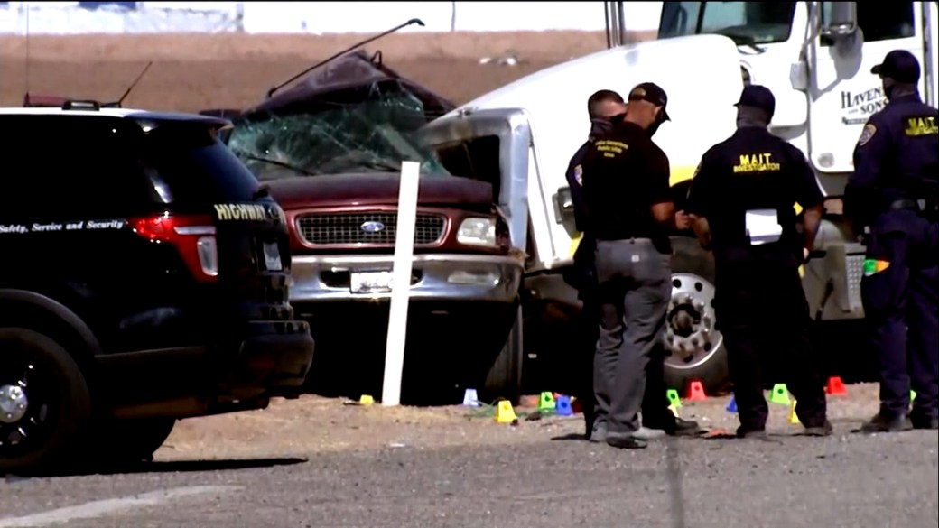 Click to play video 'At least 15 killed after SUV carrying 27 people collides with truck hauling gravel in southern California'