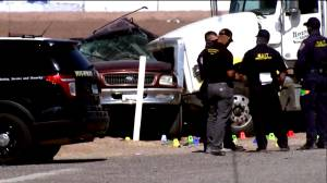 At least 15 killed after SUV carrying 27 people collides with truck hauling gravel in southern California (02:39)