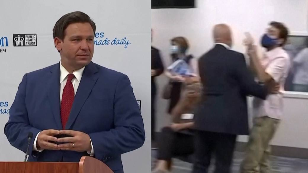 Click to play video 'Coronavirus: Florida governor heckled at briefing on COVID-19 surge'