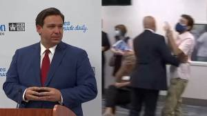Coronavirus: Florida governor heckled at briefing on COVID-19 surge