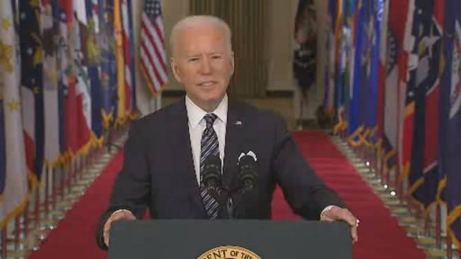 Click to play video: Coronavirus: Biden tells Americans they must beat the virus to get economy running