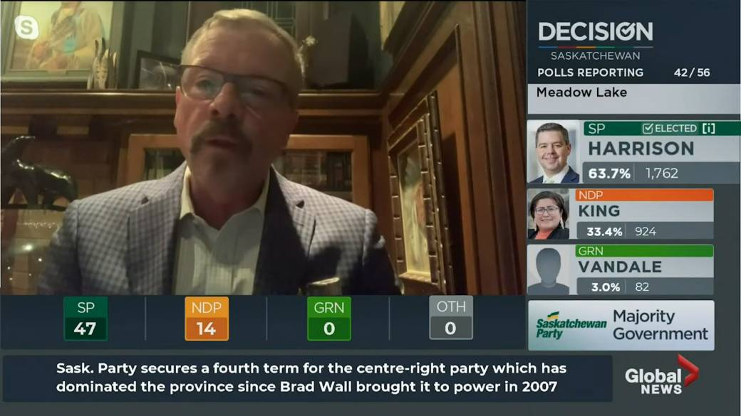 Click to play video 'Saskatchewan election 2020: Former premier Brad Wall calls 4th consecutive majority a 'big achievement''