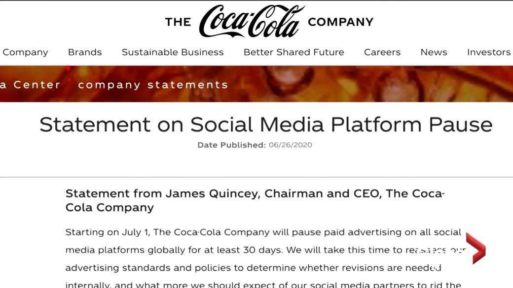 Click to play video 'Coke, Unilever join Facebook ad boycott over hate-speech concerns'