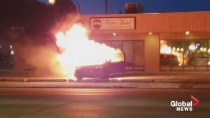 Regina fire and police respond to van fire in north end of city