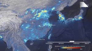 Nitrogen dioxide emissions levels drop across China