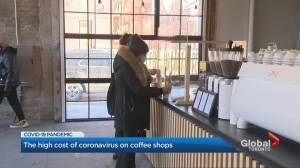 Coffee shops battle to stay in business as Ontario residents told to stay home (02:55)