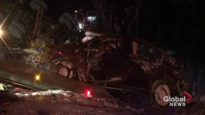 1 injured after car and logging truck collide on Hwy. 28 (00:57)