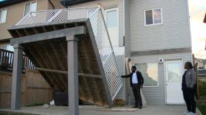 Excel Homes deck suddenly collapses