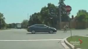 Terrifying dash-cam video shows 11-year-old Thorold boy getting knocked off bike by car that drives off (01:49)