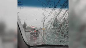 Ice bombs damage multiple vehicles on Port Mann bridge (02:03)