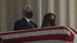 U.S. Vice President Mike Pence pays respects to late Supreme Court Justice Ruth Bader Ginsburg