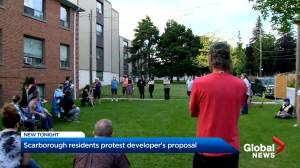 Residents of Scarborough apartments voice anger over proposal to demolish, rebuild mid-rise condo (02:48)