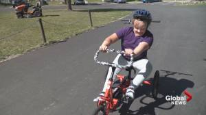 Adaptive trike helps Frankie strengthen her legs