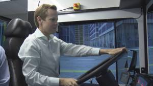 Behind the wheel of TransLink's new high-tech bus simulator