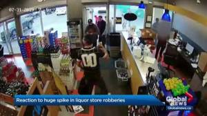 Reaction to massive spike in brazen liquor store robberies in Edmonton