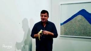Man takes bite out of $160K art banana on display