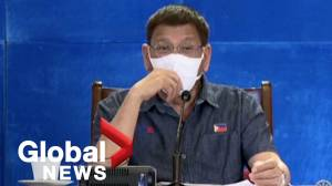 Philippines' Duterte threatens citizens who refuse COVID-19 vaccine with jail, shots meant for pigs (02:03)