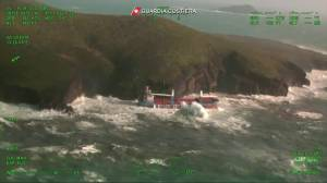 Italian Coast Guard rescues crew from crashed ship amid severe weather conditions