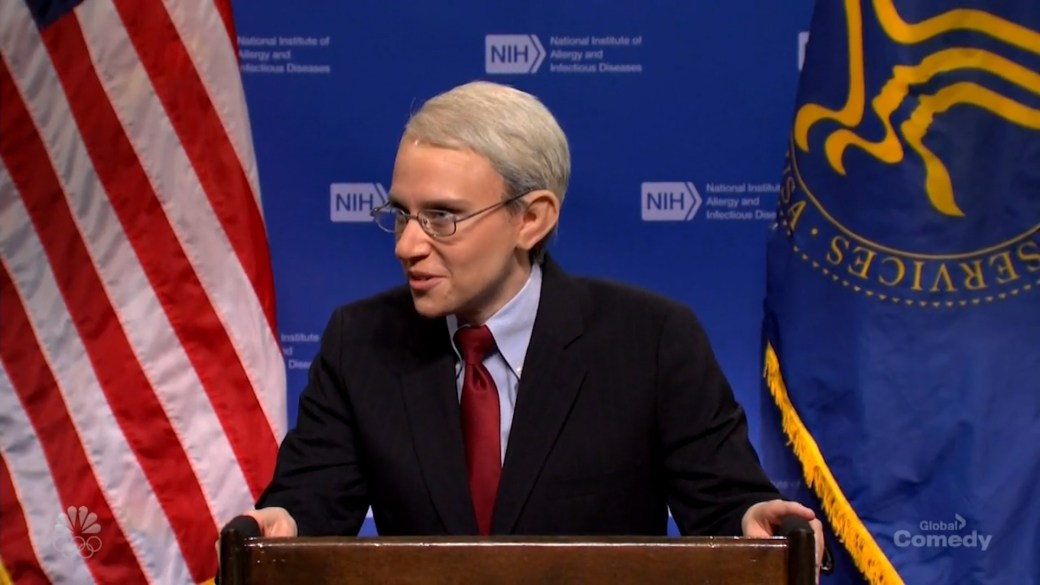 Click to play video: ''SNL' parodies CDC mask announcement, with Kate McKinnon as Dr. Fauci'