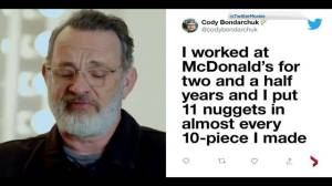 Edmonton's 'Robin Hood of McNuggets' captures attention of Holly actor Tom Hanks
