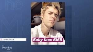 Justin Bieber shaves stache