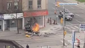 Video appears to show aftermath of single-vehicle crash in Toronto