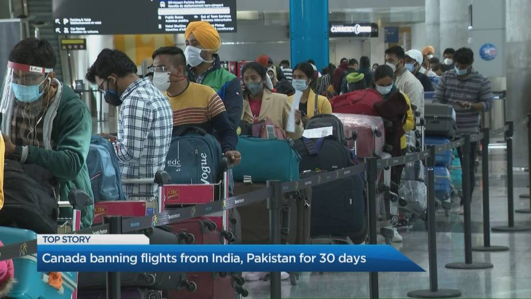 Click to play video: 'Canada bans flights from India, Pakistan for 30 days'