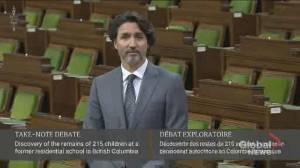 Trudeau reflects on loss of 215 children buried at former Kamloops residential school (00:47)