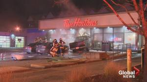Truck crashes into Tim Hortons in Kelowna