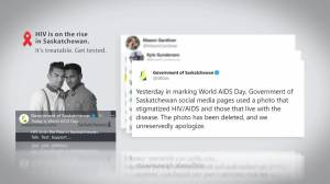 Saskatchewan government apologizes after World AIDS Day tweet draws ire (01:41)