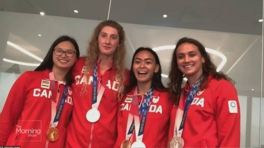 Click to play video: 'Team Canada's female Olympic swim team talks making a splash in Tokyo'