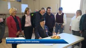 Veteran celebrates 100th birthday (01:56)