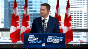 Federal Election 2019: Conservative Leader Andrew Scheer talks about campaigning in Manitoba during state of emergency