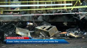 Fraser Valley campground evacuated following a trailer fire (00:52)