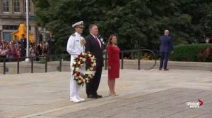 Pompeo, Freeland participate in wreath-laying ceremony