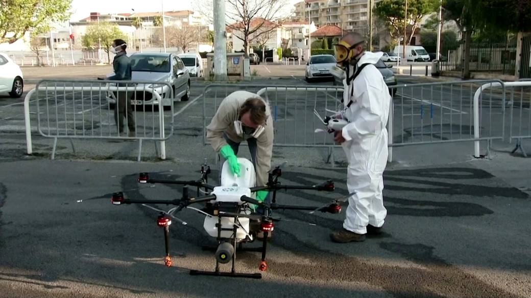 Click to play video 'Coronavirus outbreak: France using drones to help disinfect streets during COVID-19 pandemic'