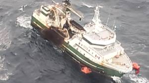 Emergency crews rescue members aboard fire-damaged fishing vessel off Nova Scotia (01:54)