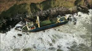 Ship from Caribbean washes ashore in Ireland