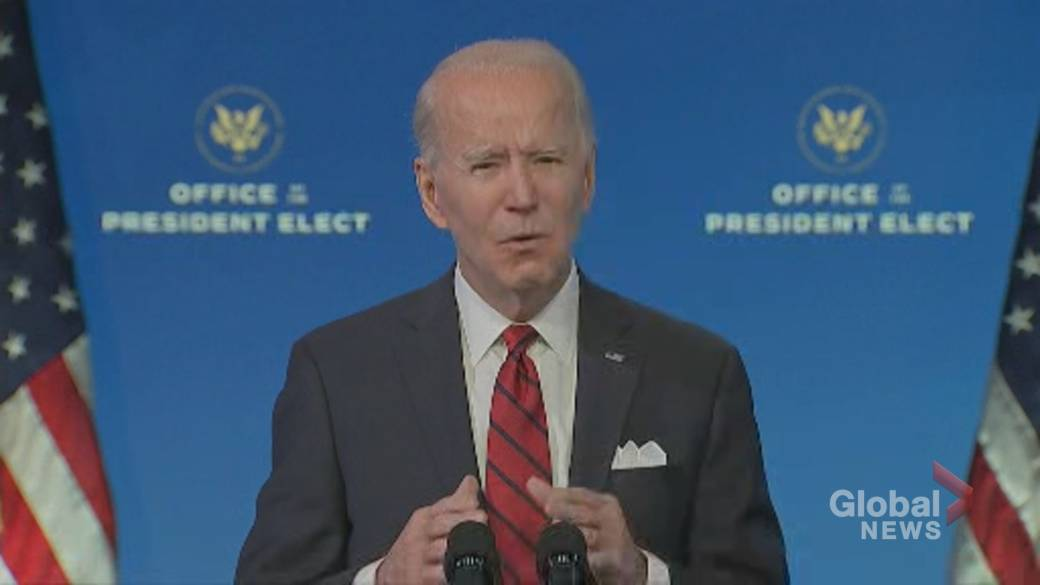 Click to play video 'Coronavirus: Biden says his administration will release 'vast majority' of vaccine supply'