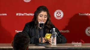 Tennis champ Bianca Andreescu reads text messages from rapper Drake