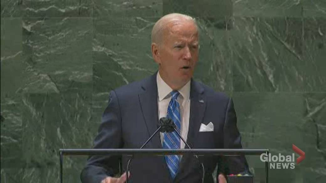 Click to play video: 'UNGA 2021: Biden says U.S. will work to 'double' commitment to climate financing'
