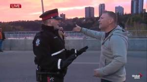 Heated confrontations at Walterdale Bridge climate change blockade Monday morning