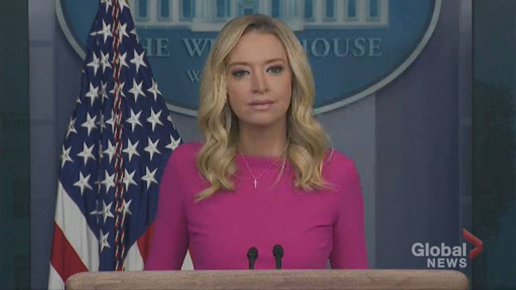 Click to play video 'White House press secretary stays mum on Trump's supposed-plan to run for president in 2024'