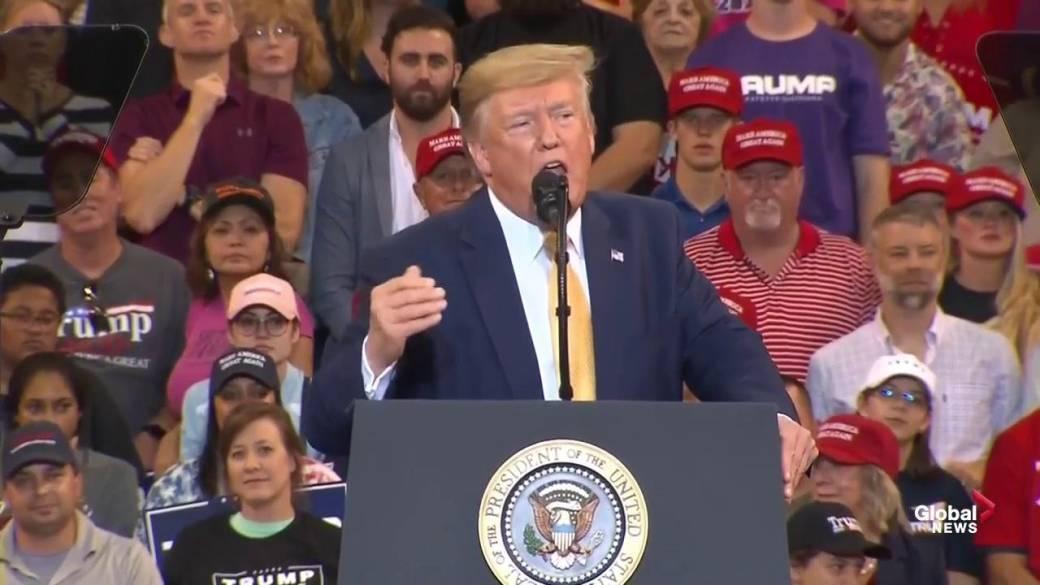 Trump denounces impeachment inquiry with profanity at Louisiana rally