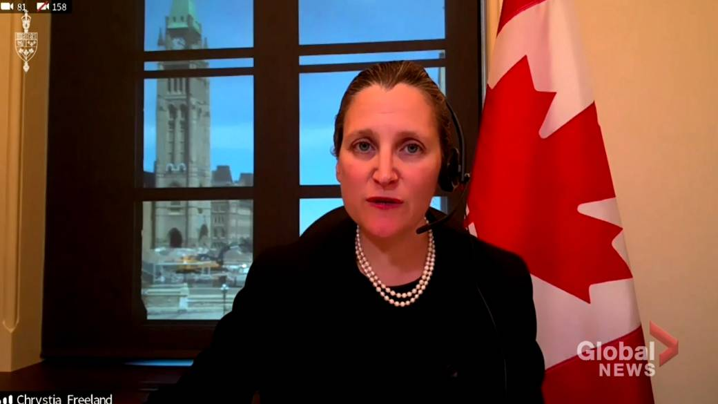 Click to play video 'Coronavirus outbreak: Freeland says government will protect Canadian companies from hostile foreign takeovers'